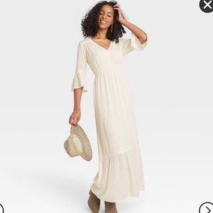Knox Rose Women's 3/4 Sleeve Clip Dot BOHO Dress
